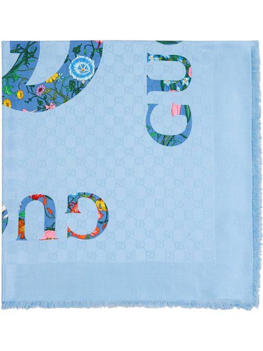Gucci Schal mit Logo-Print - Blau