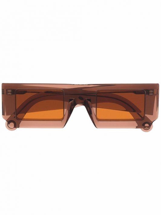 Jacquemus Sonnenbrille mit eckigem Gestell - Braun