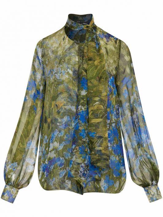 Oscar de la Renta Schluppenbluse mit Blumen-Print - Blau