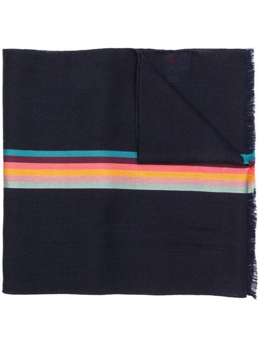 PAUL SMITH Schal mit Streifen - Blau