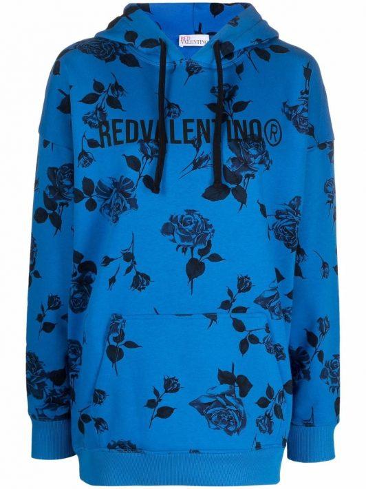 RED Valentino floral logo-print hoodie - Blau