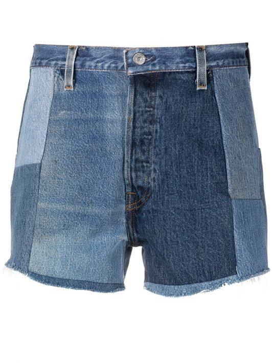 RE/DONE Shorts im Patchwork-Look - Blau