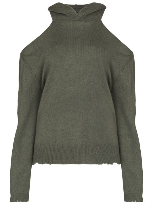 RtA Juno cut-out shoulder hoodie - Grün