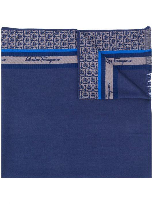 Salvatore Ferragamo Schal mit Gancini-Print - Blau
