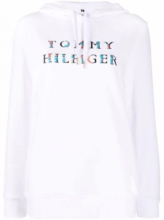 Tommy Hilfiger Bestickter Hoodie mit Kordelzug - Weiß
