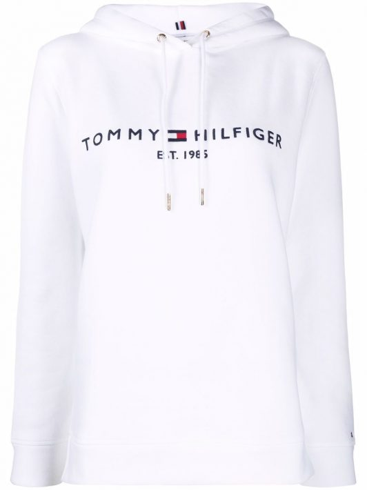 Tommy Hilfiger Hoodie mit Logo-Print - Weiß