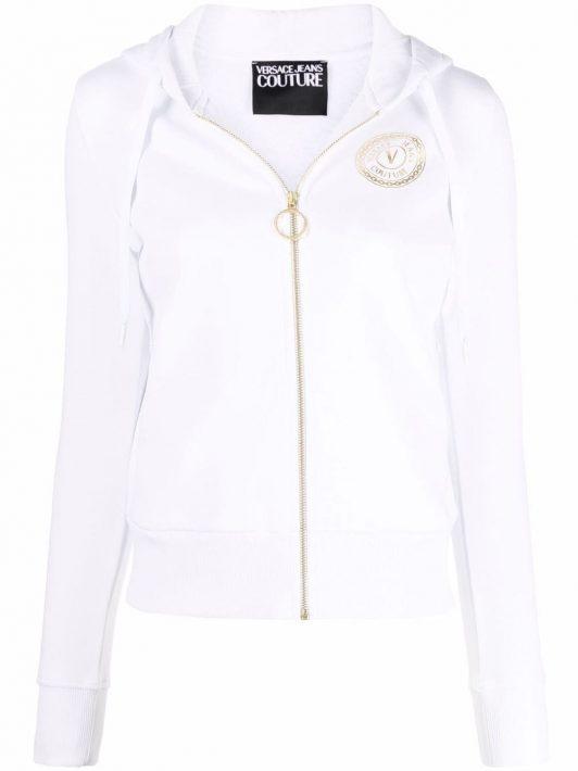 Versace Jeans Couture metallic logo print hoodie - Weiß